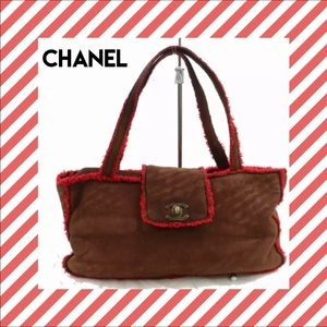 CHANEL Brown Handbag Authentic CC Brown Suede red